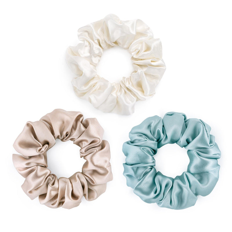 Set of 3 large 100% pure mulberry silk scrunchies in white, caramel and pale blue, but Silk Works London UK.