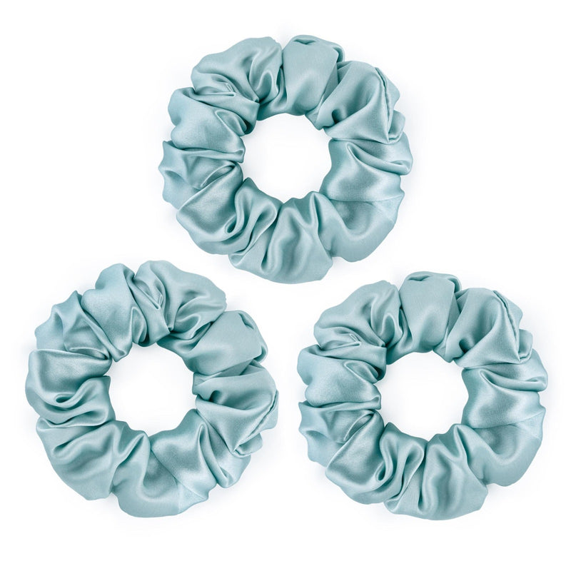 Set of 3 large sky blue 100% mulberry silk scrunchies