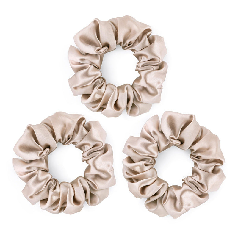 Set of 3 large 100% mulberry silk caramel scrunchies