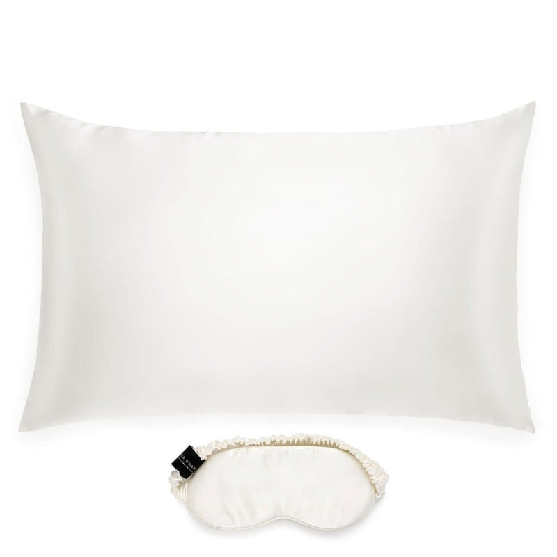 silk pillowcase and eye mask set in ivory