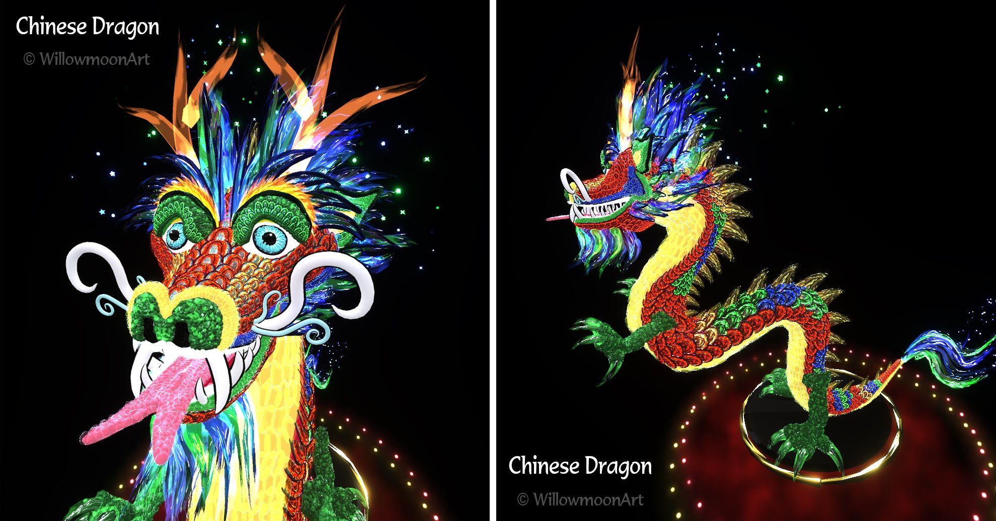 Chinese Dragon - Virtual Reality Art by Willowmoon Art