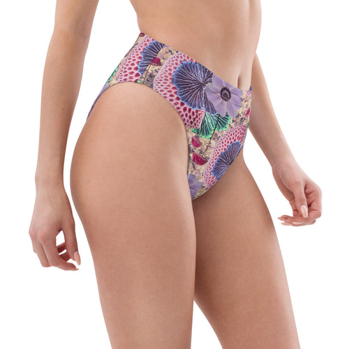 Recycled Polyester High-waisted Bikini Bottoms in Pink Shroom