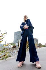 Navy High Waisted Flare Trousers