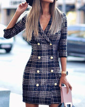 Load image into Gallery viewer, Plaid Double Breasted Tweed Blazer Dress