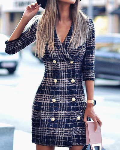 Plaid Double Breasted Tweed Blazer Dress