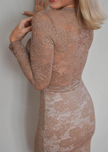 Nude Lace Long Sleeve Dress