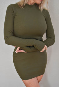 Solid Mock Neck Long Sleeve Bodycon Dress