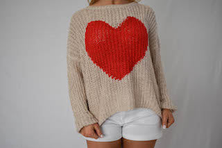 Big Heart Sock Monkey Sweater