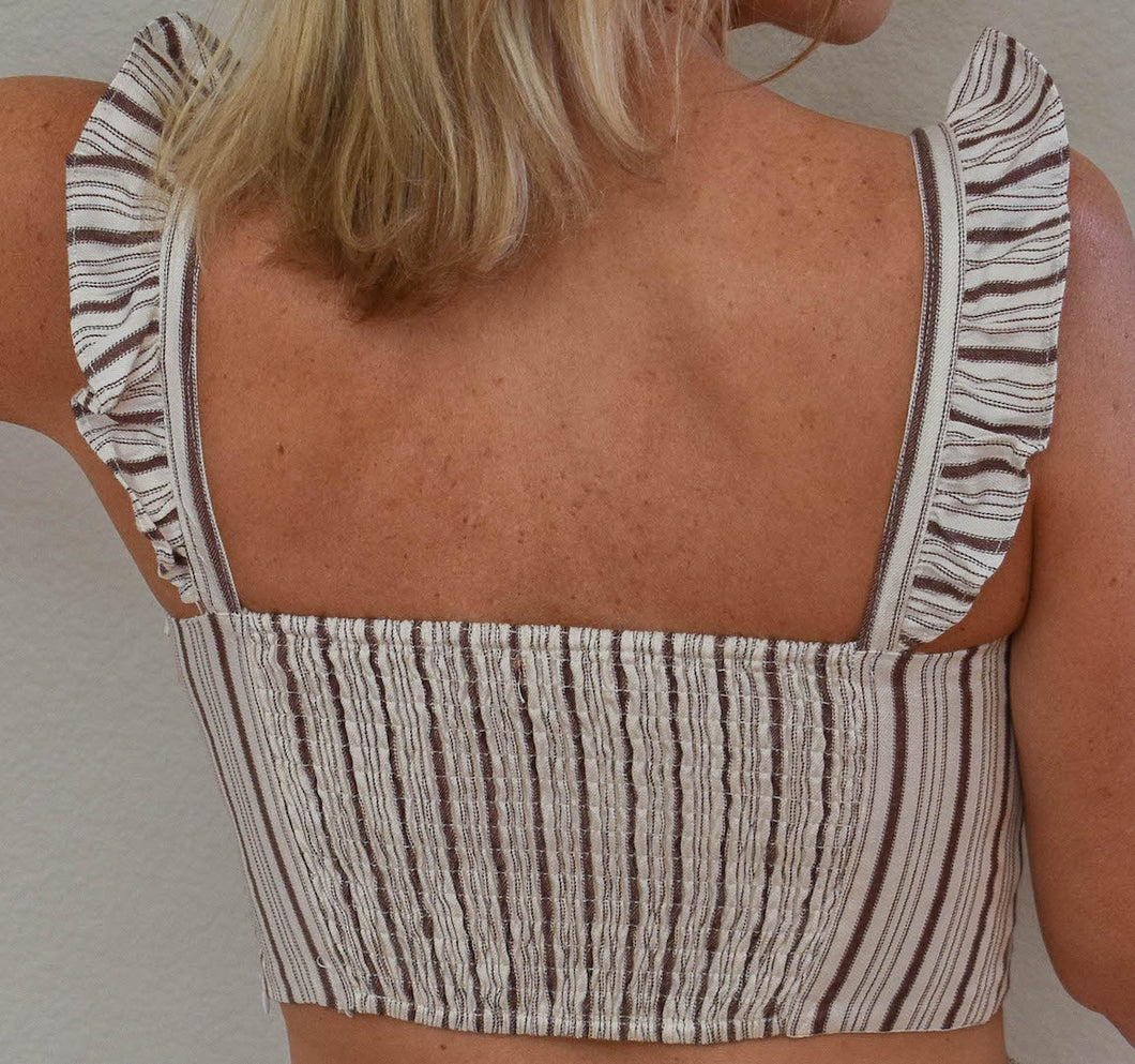 Ruffled Brown and White Pinstripe Top