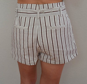 High Waist Brown and White Pinstripe Shorts