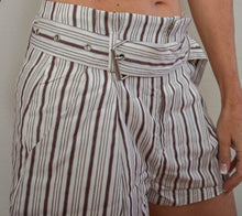 Load image into Gallery viewer, High Waist Brown and White Pinstripe Shorts