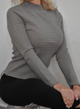 Load image into Gallery viewer, High Neck Olive Ribbed Sweater