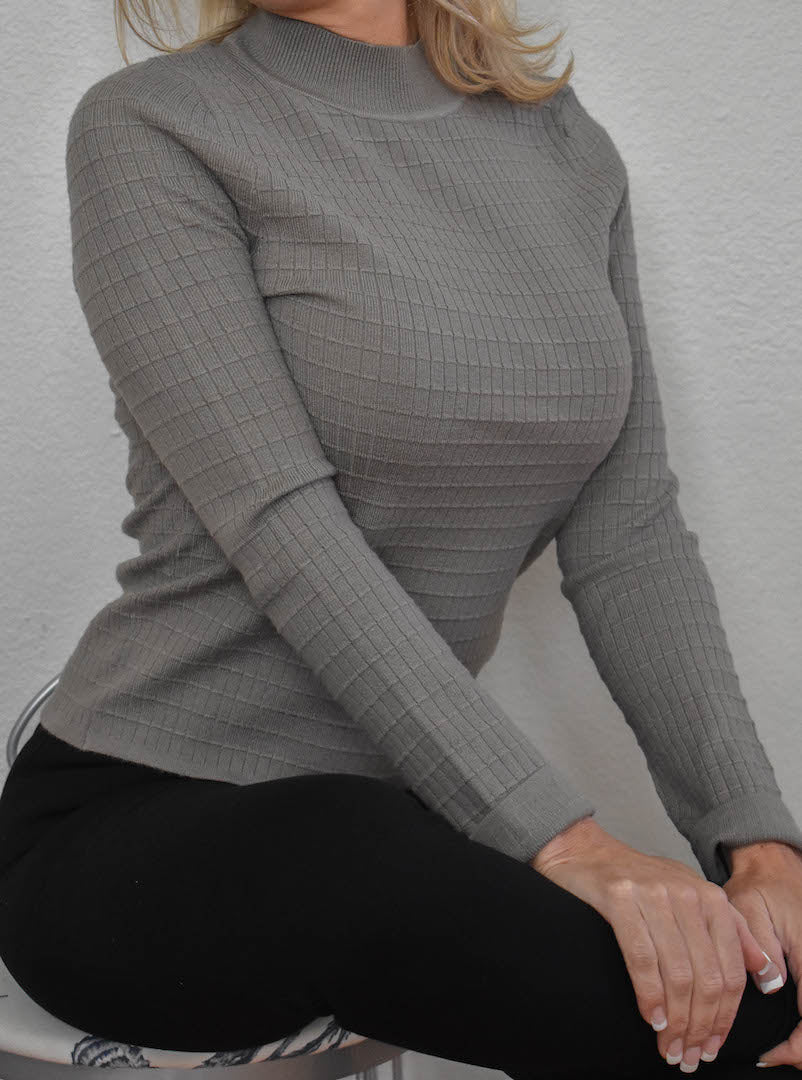 High Neck Olive Ribbed Sweater