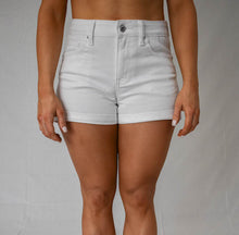 Load image into Gallery viewer, White Wax Jean Shorts