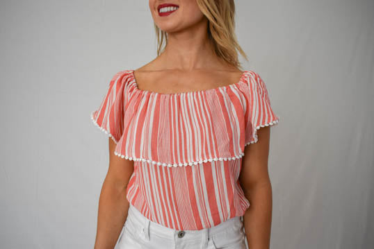 Pinstripe Ruffled Sleeve Crop Top