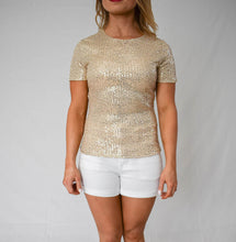 Load image into Gallery viewer, Glitter Short Sleeve Round Neck Sequins Top