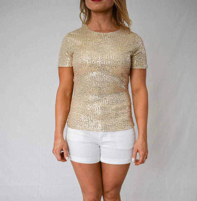 Glitter Short Sleeve Round Neck Sequins Blouse