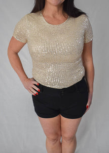 Glitter Short Sleeve Round Neck Sequins Top