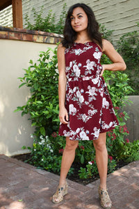 Burgundy Floral Petite Dress
