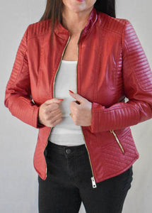 Red Jacket with Gold Zipper Details