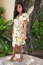 Load image into Gallery viewer, Yellow Floral Print Wrap Petite Dress