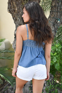 Denim Top with Petite Bow