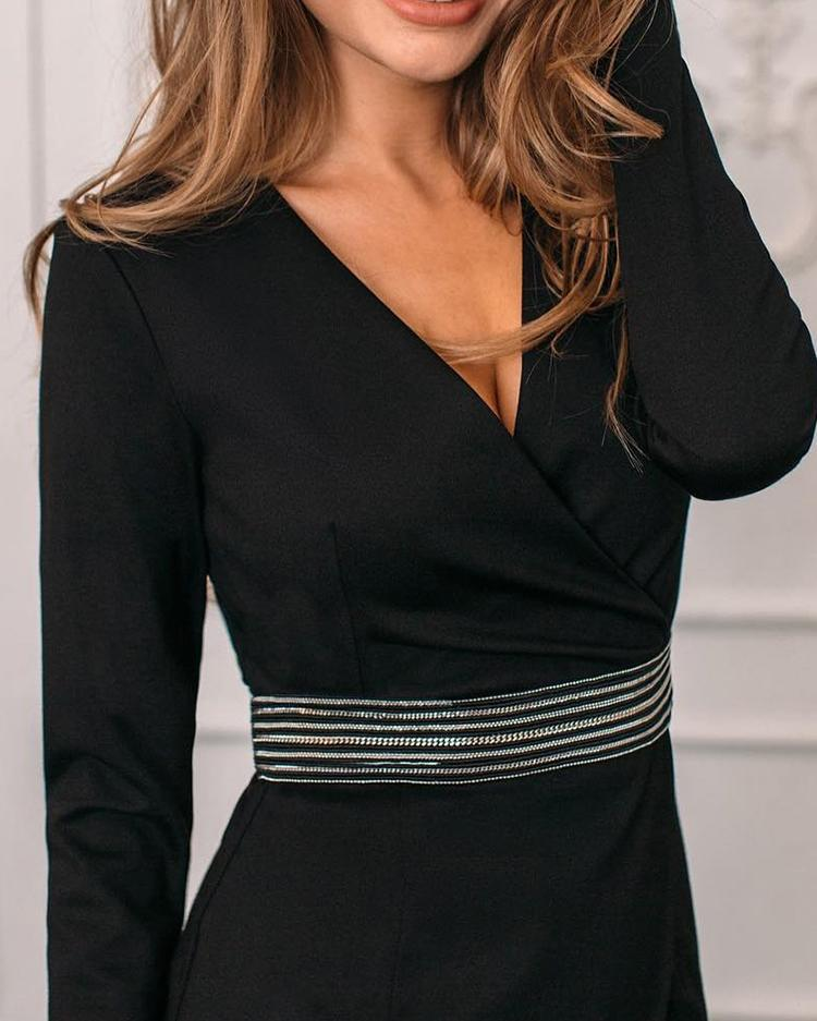 Long Sleeve Wrapped Belted Dress
