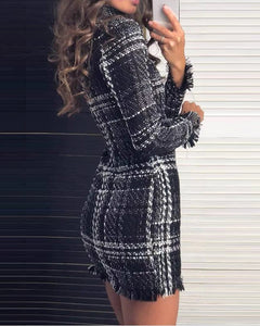 Mock Neck Long Sleeve Plaid Fringed Dress