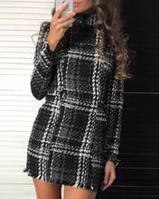Load image into Gallery viewer, Mock Neck Long Sleeve Plaid Fringed Dress