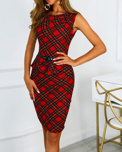 Red Plaid Work Dress