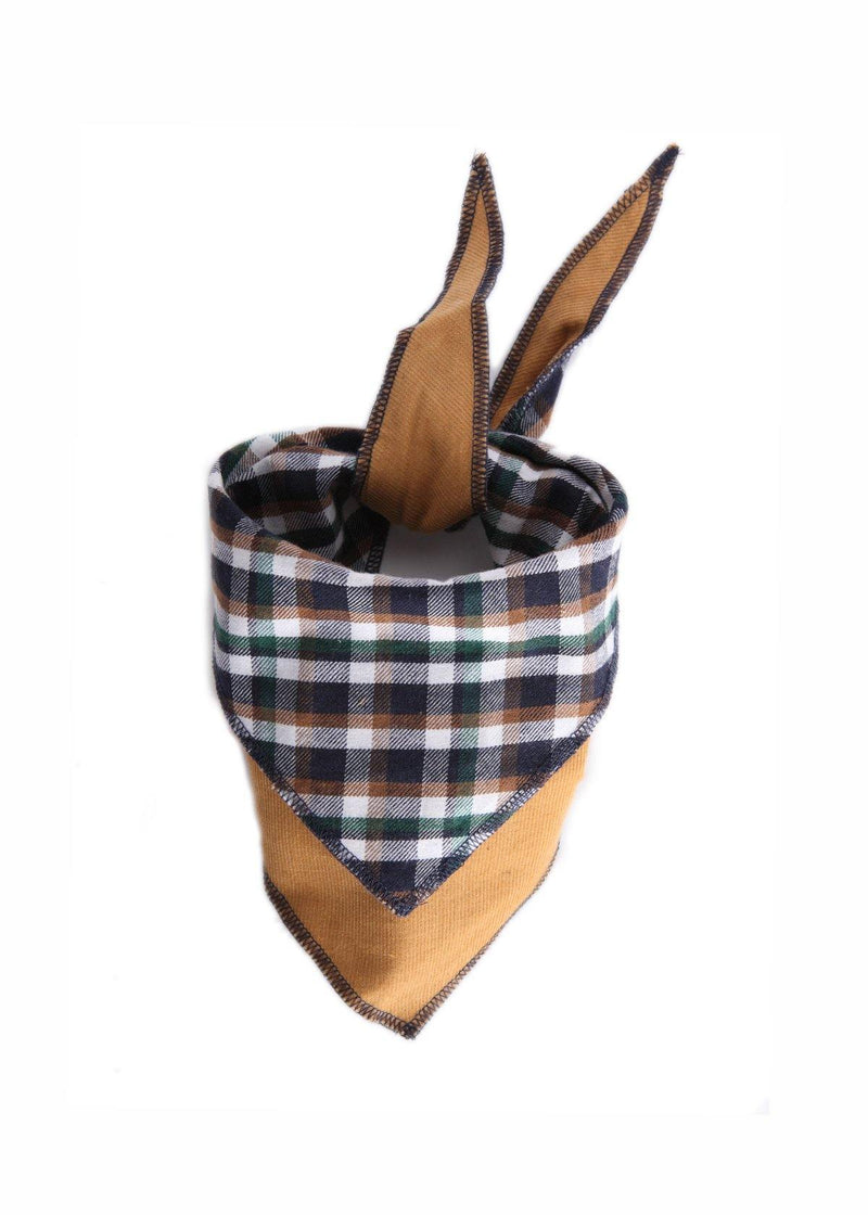 Tan Plaid Reversible Bandana