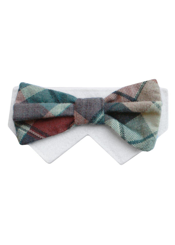 Barkday- Large Pattern Navy, Beige, Light Red Bow Tie