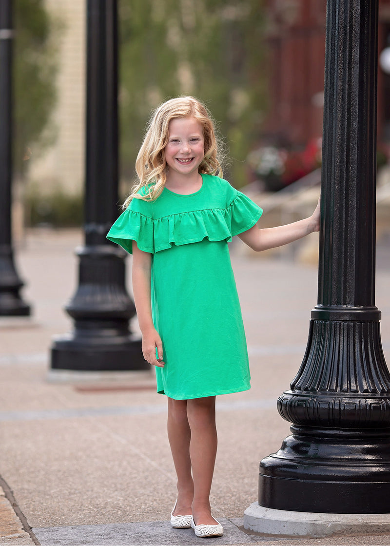 Green Ruffle Trim Shift Dress in Green
