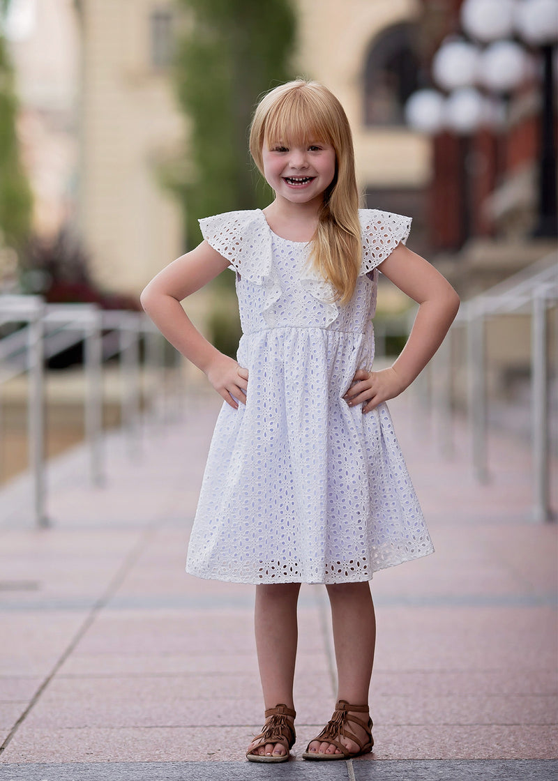Eyelet Bow-Back Dress in White