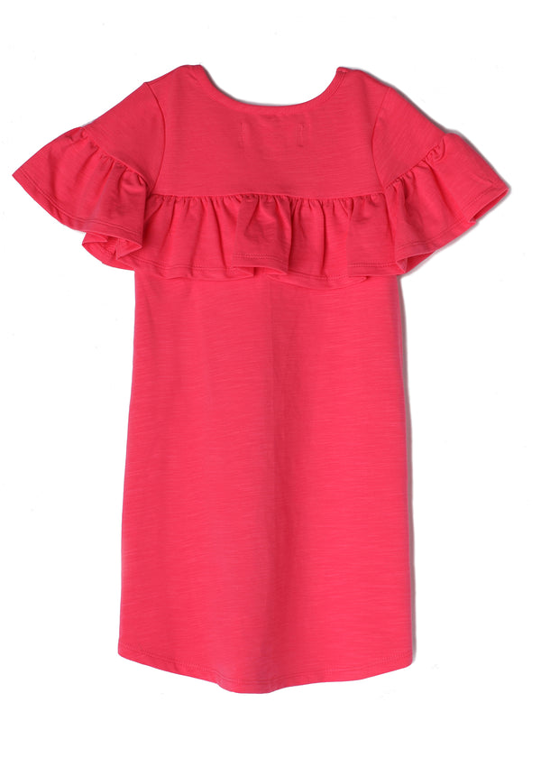 Coral Ruffle Trim Shift Dress in Coral