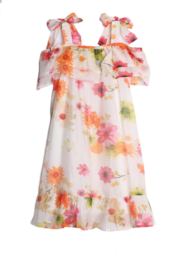 Spring Blossom Cold Shoulder Big Girl Floral Dress