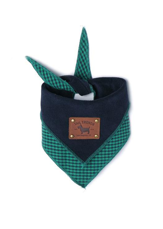 Navy Green Corduroy Reversible Bandana