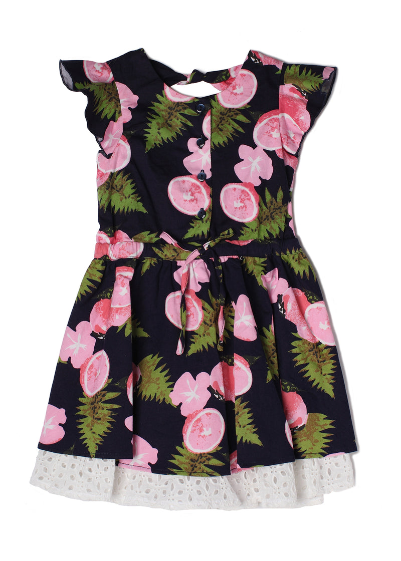Print Ruffle Hem Dress in Pink
