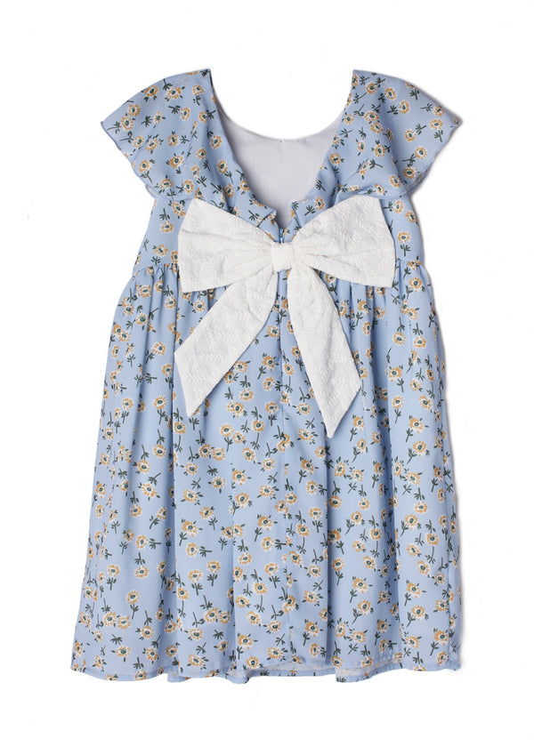Ditsy Floral Bow-Back Dress in Light Blue