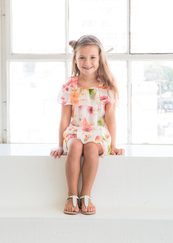 Spring Blossom Toddler Cold Shoulder Floral Dress