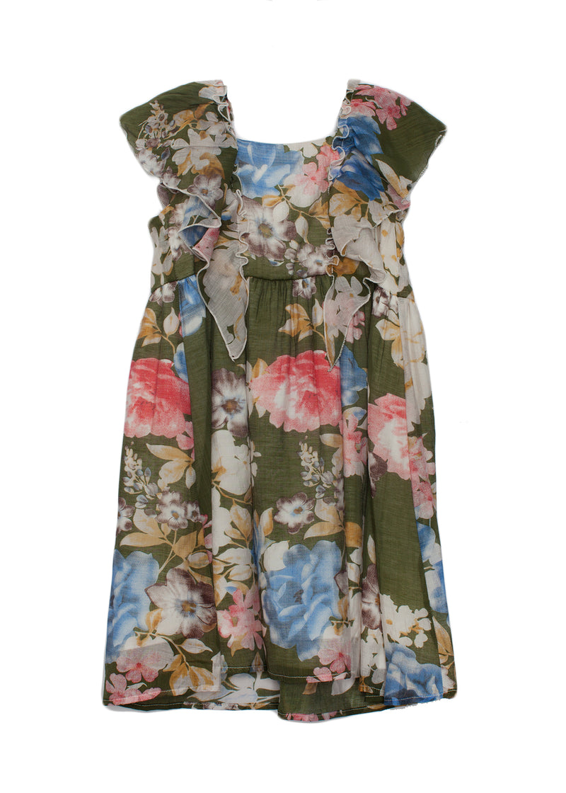 Light Floral Ruffle Dress
