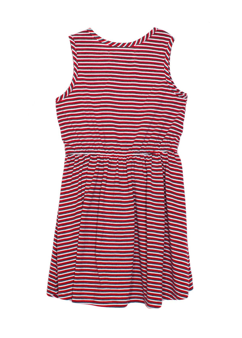 Sleeveless Knit Red Striped Dress