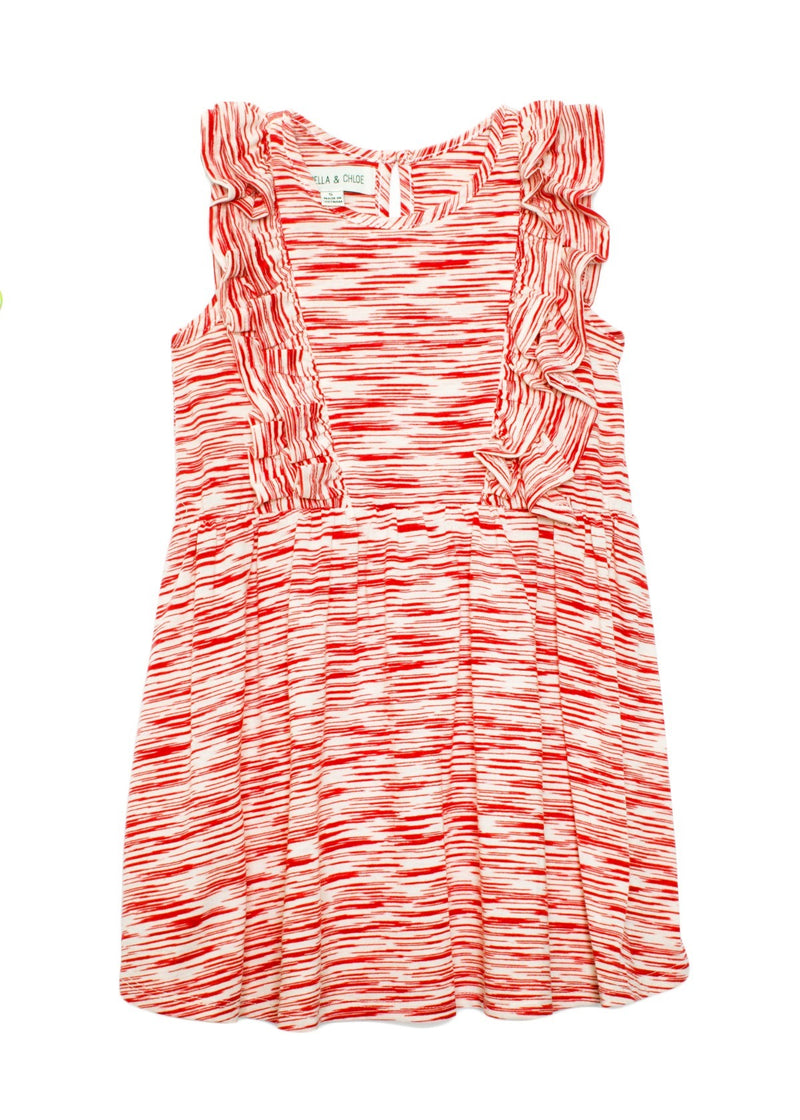 Ruffle Knit Red Striped Dress
