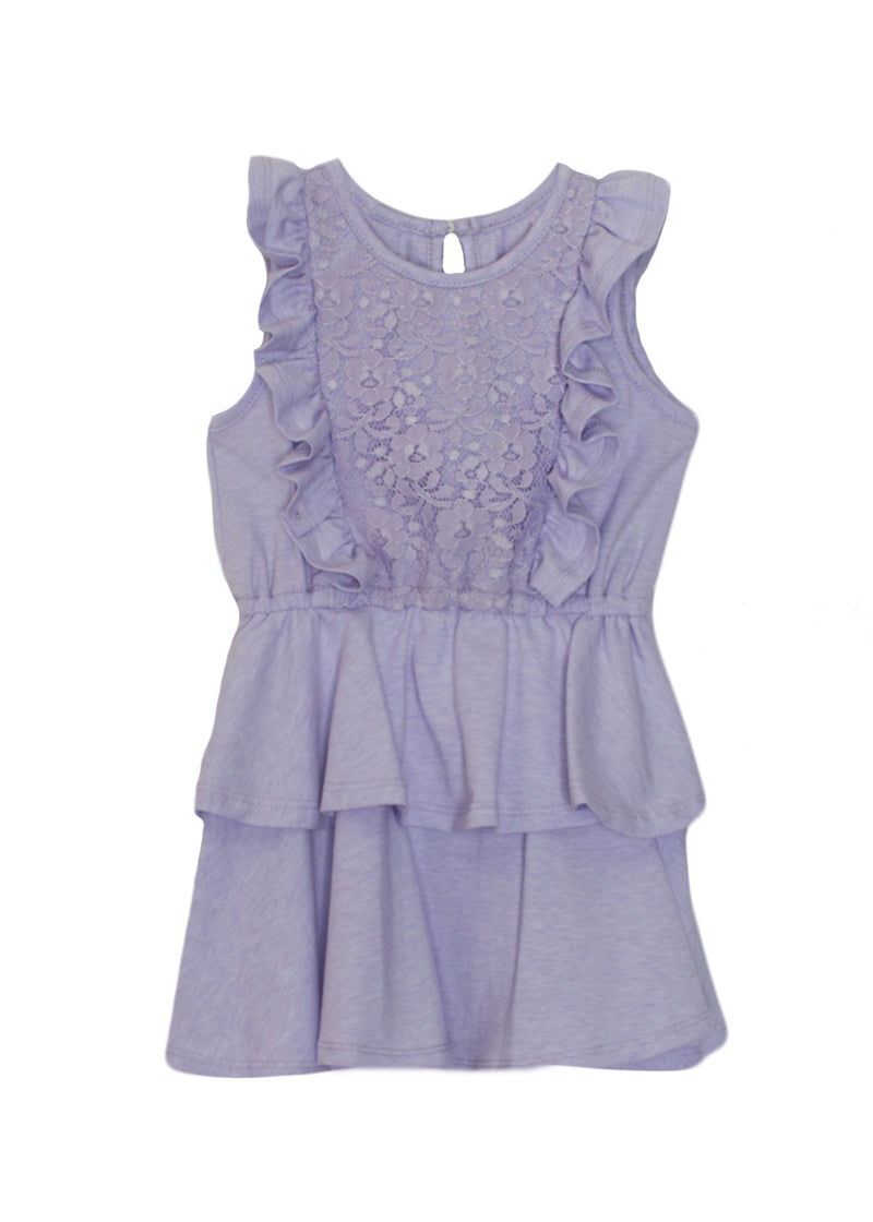 Knit Lace Tiered Dress Lilac
