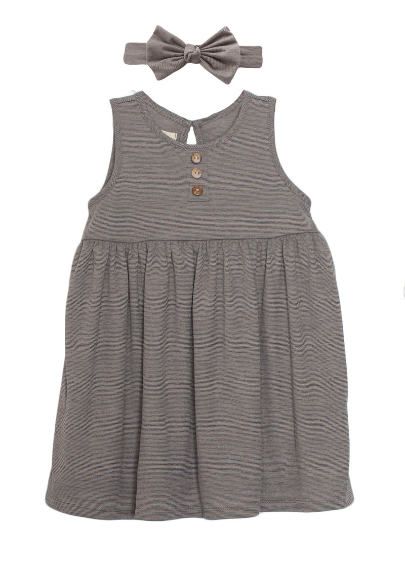 Grey Knit Dress with Buttons and Bow