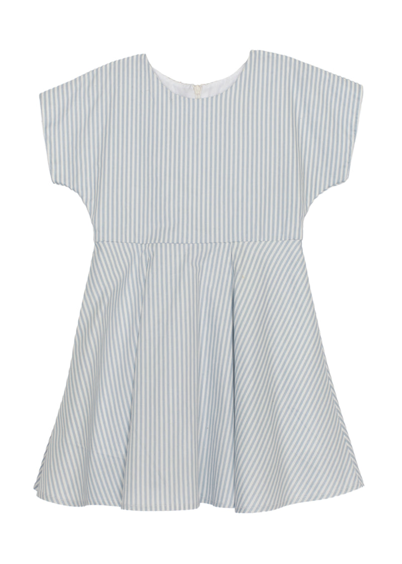 Short Sleeve Woven Blue Dress