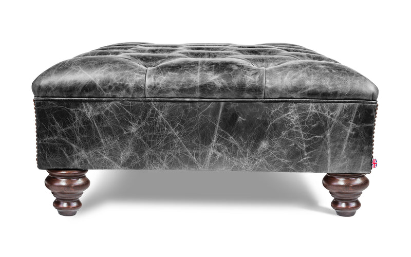 Hardy Vintage Leather Footstool
