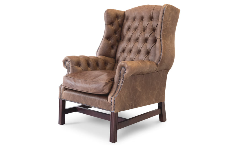 Clementine Vintage Leather Wing Back Chair