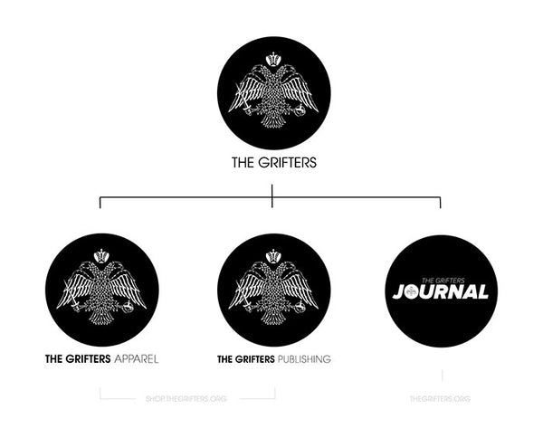 The Structure of The Grifters project. The Grifters Apparel, The Grifters Publishing and The Grifers Journal