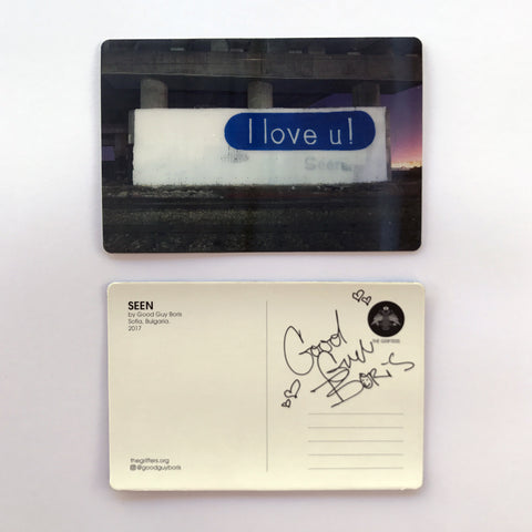 I LOVE YOU - SEEN - LENTICULAR  POSTCARD - GOOD GUY BORIS - THE GRIFTERS - GRAFFITI